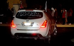 A car showed up with a message. (Solomon Crenshaw Jr./Alabama NewsCenter)