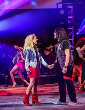 "Daniel C. Jackson and Hannah Comedy are the stars of ""Rock of Ages."" (contributed/Clark Scott)"