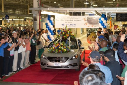 Hyundai celebrated production of its 3 millionth Alabama-made vehicle in June 2015, 10 years after opening its Montgomery plant. (Hyundai Motor Manufacturing Alabama)