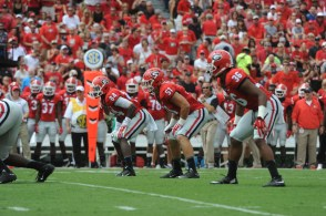 Georgia linebacker Jake Ganus (51) lines up for the Bulldogs. (Photo by Sean Taylor)