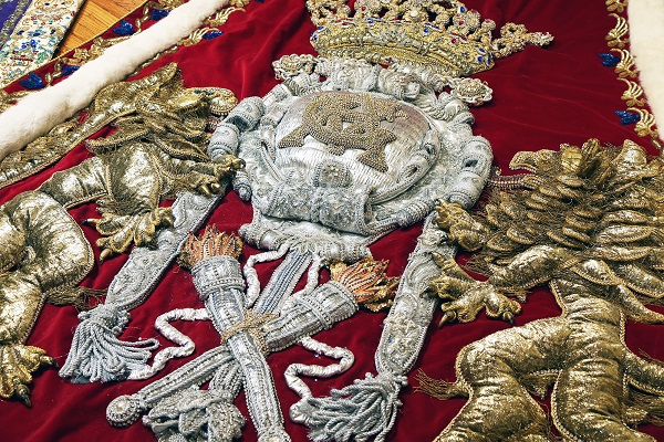 A detail of the robe of Mobile Carnival Association 2001 King Felix III Thomas Bragg Van Antwerp Jr. at the Mobile Carnival Museum. (Mike Kittrell/Alabama NewsCenter)