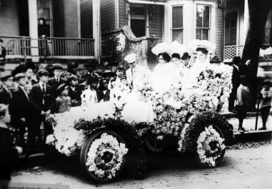 A scene from the 1905 Floral Parade is displayed at the Mobile Carnival Museum in Mobile. (University of South Alabama Archives)