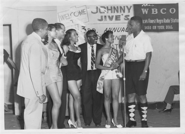 "Johnny Jive hosts the ""Platter Queen"" contest for WBCO-AM 1450 in 1958. (contributed)"