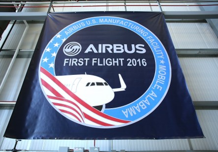 A post-flight ceremony is held at the Airbus Manufacturing Facility to celebrate the successful first flight. (Mike Kittrell/Alabama NewsCenter)