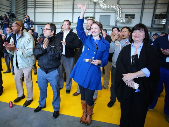 Airbus employees celebrate the historic event during a post-flight ceremony. (Mike Kittrell/Alabama NewsCenter)