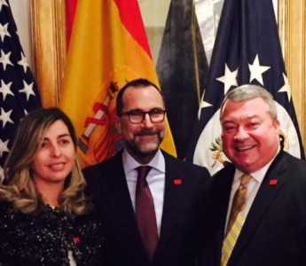 BBVA executive Eva Piera and U.S. Ambassador James Costos pose with Alabama Commerce Secretary Greg Canfield during the trade mission stop in Madrid. Costos and Piera are wearing 'Made In Alabama' lapel pins. (contributed)