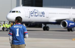 Employee Juan Casar participates in a delivery ceremony Monday, April 25 for JetBlue A321 Ð the first Airbus aircraft produced at Airbus U.S. Manufacturing Facility in Mobile, Ala. (Mike Kittrell/Alabama NewsCenter)
