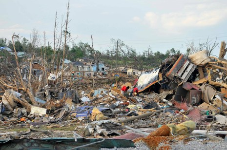 The tornadoes of April 27, 2011 killed 247 people and devastated Alabama towns and communities. This is Alberta City in Tuscaloosa.