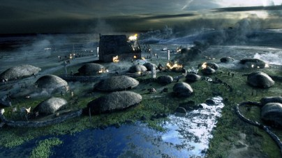 The Vikings earned a reputation as ruthless raiders and murderers, slaughtering monks, setting fire to flourishing monasteries, and making off with precious booty, as depicted in this CGI image. (Compost Creative)