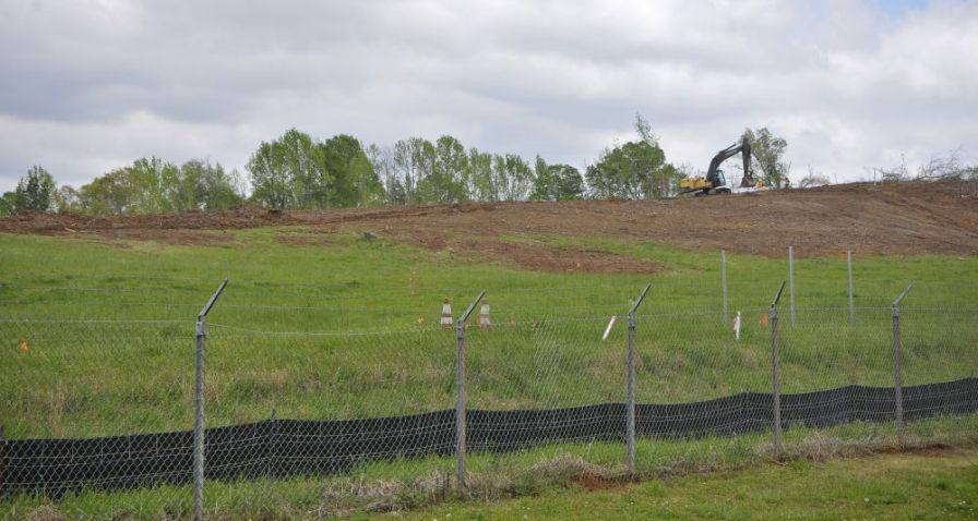 Preparing the ground for the solar facility. (Billy Brown/Alabama NewsCenter)