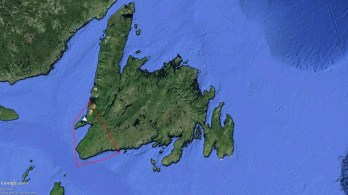 A map shows the area of Point Rosee, Newfoundland. (contributed)