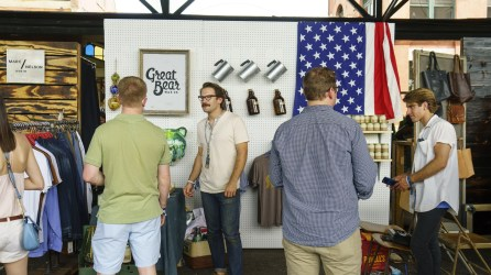 Great Bear Wax Company's Jake Carnley and Alex Lazzari show their products at Southern Makers 2016. (Mark Sandlin/Alabama NewsCenter)