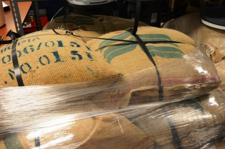 Coffee beans yet to be roasted at Fairhope Roasting Co. (Karim Shamsi-Basha/Alabama NewsCenter)