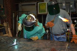 Welding equipment is available at MAKEbhm for those learning the skills as well as those who have mastered them. (Colin Nekritz/Alabama NewsCenter)