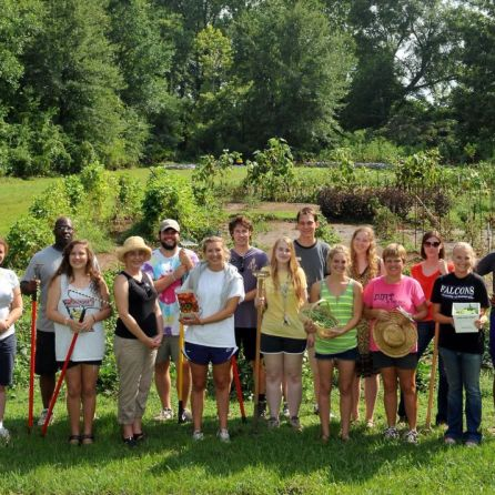 UM students and faculty in UM Organic Community Garden (contributed)