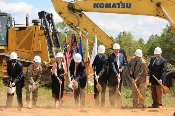 Officials from Alabama Power, the Army and other federal agencies break ground on the company's second, large-scale solar energy project. at Fort Rucker on Thursday, June 2, 2016. (Mike Kittrell/Alabama NewsCenter)