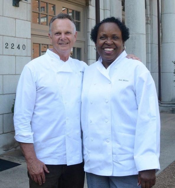 Highlands Bar and Grill owner Frank Stitt with Dolester Miles, the Birmingham restaurant's nationally acclaimed pastry chef. (Karim Shamsi-Basha/Alabama NewsCenter)