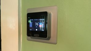 New, technology-friendly thermostat is now inside the Cummins' home. (Bruce Nix/Alabama NewsCenter)