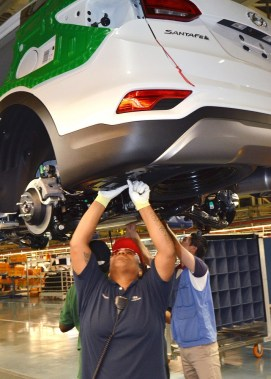 Hyundai invested $52 million at its Alabama assembly plant to prepare for production of the Santa Fe Sport. (Hyundai)