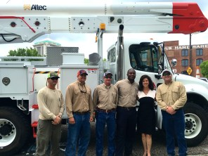 Alabama Power Southern Division Vice President Leslie Sanders joins linemen in Montgomery