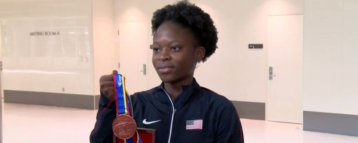 Jayla holds her medal she won IAAF World Youth Championships in Colombia.(Alabama NewsCenter)