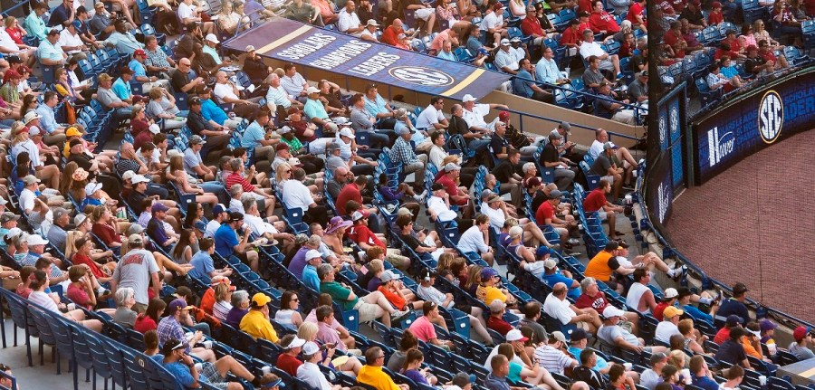 Fans watch the action at this year's SEC baseball tournament, which drew more than 150,000 people to Hoover Metropolitan Stadium. (Bernard Troncale/Alabama NewsCenter)