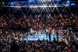 Deontay Wilder (white trunks) defeated Chris Arreloa (black trunks) after eight rounds with a technical knockout last year. (Nik Layman/Alabama NewsCenter)