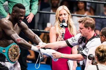 Deontay Wilder grimaces as the glove is removed from his hand. Wilder bent the pins in his hand and tore a muscle in his right bicep, effectively making him a one-armed fighter the last four rounds. (Nik Layman/Alabama NewsCenter)