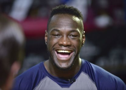 WBC Heavyweight Champion Deontay Wilder works out in front of the media Tuesday, July 5, at Skyy Gym in Northport. (Frank Couch / The Birmingham Times)