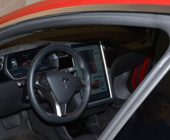 The Tesla, such as Paul Franks' Model S 70D, has a sophisticated 17-inch touchscreen that provides all sorts of information, including the distance to 'superchargers' located along your route. (contributed)