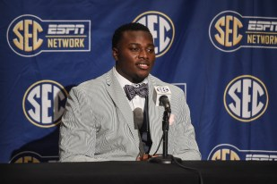 Auburn defensive tackle Montravius Adams speaks during SEC Football Media Days on Monday in Hoover. (Wade Rackley/Auburn Athletics)
