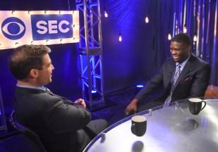 Auburn wide receiver Marcus Davis speaks during SEC Football Media Days on Monday in Hoover. (Wade Rackley/Auburn Athletics)