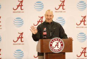 Defensive coordinator Jeremy Pruitt speaks to the media following Fan Day. (Amelia B. Barton / UA Athletics)