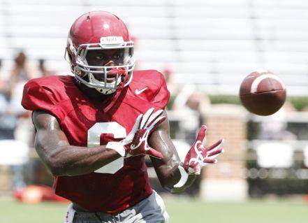 Alabama defensive back Hootie Jones practices in Bryant-Denny Stadium. (Robert Sutton / UA Athletics)