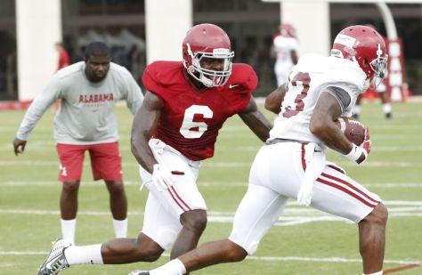 Alabama defensive back Hootie Jones (6) and wide receiver ArDarius Stewart (13) at Monday's practice. (Robert Sutton / UA Athletics)