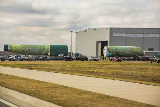 Aircraft components arrive at the Airbus assembly facility at Mobile Aeroplex. (Image: Mobile Aeroplex)