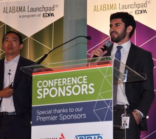 Landon Acriche, Venture for America fellow working at Alabama Power, speaks at the Alabama Innovation Awards. (Michael Tomberlin / Alabama NewsCenter)