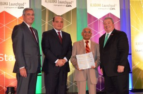 Honoring Corporate Innovator of the Year, large company are, from left, EDPA Chairman and Alabama Power CEO Mark Crosswhite, Adtran CEO Tom Stanton, CFD Research Corp. Chairman Ashok K. Singhal, and Alabama Commerce Secretary Greg Canfield. (Michael Tomberlin / Alabama NewsCenter)