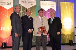 Honoring Outstanding Achievement in Innovative Manufacturing are, from left, EDPA Chairman and Alabama Power CEO Mark Crosswhite, Adtran CEO Tom Stanton, Horizon Shipbuilding CEO Travis Short, and Alabama Commerce Secretary Greg Canfield. (Michael Tomberlin / Alabama NewsCenter)