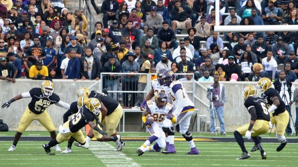 The Miles Golden Bears play Alabama State University during last year's championship season. The team won't have the element of surprise this year because everybody knows how good it is. (Miles College Football)