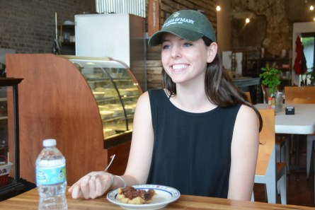 Beckie Allen enjoys a Pie Lab pie. (Karim Shamsi-Basha / Alabama NewsCenter)