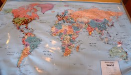A map at Pie Lab shows where visitors to the Greensboro eatery came from. (Karim Shamsi-Basha / Alabama NewsCenter)