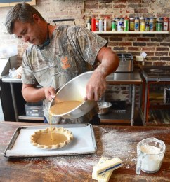 Seaborn Whatley makes a pie in Greensboro's Pie Lab, one of the food companies spotlighted by Á la Carte Alabama. (Karim Shamsi-Basha / Alabama NewsCenter)