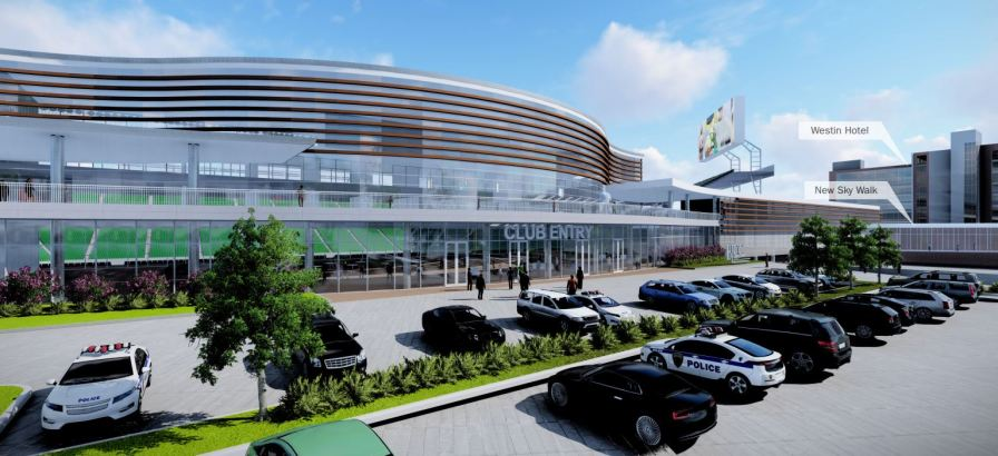A rendering shows the entrance to the open-air downtown football stadium set for completion in 2021. (Populous)