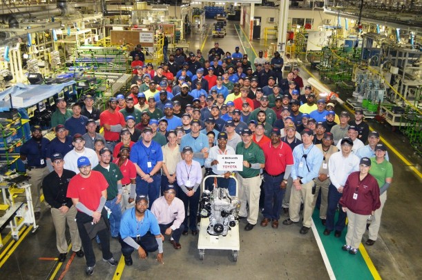 Toyota Alabama employees celebrated the 4 millionth engine milestone. The plant has since gone past 4.5 million (Image: Toyota)