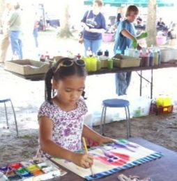 Children enjoy painting lessons at the Fayette Arts Festival. (Contributed)