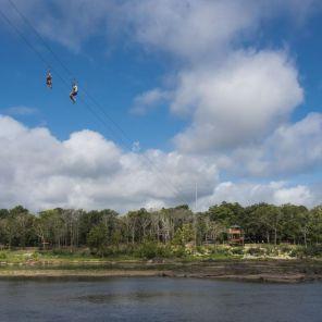 Zip liners cross the Chattahoochee River in Phenix City, Al. (Bernard Troncale/Alabama NewsCenter)