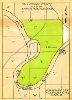 Historic Horseshoe Bend map denoting the location of the monument dedicated in 1914. (Alabama Power Company Archives)