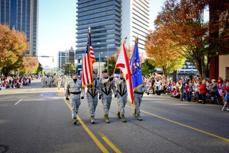 Airmen from the 117th Air Refueling Wing participate in the Birmingham Veterans Day Parade, Nov. 11, 2015. (U.S. Air National Guard by SMSgt Ken Johnson/117th Air Refueling Wing)