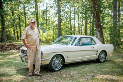 Buford Lee enjoys his 1966 Mustang in retirement. (photo by Chuck St. John)